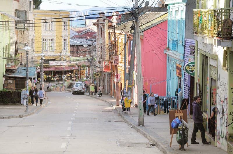 瓦尔帕莱索街道的看法  库存图片