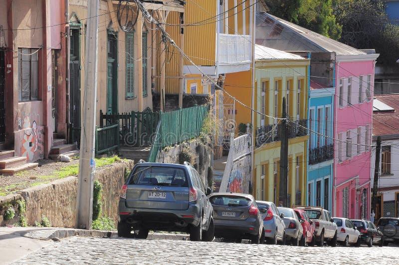 瓦尔帕莱索街道的鸟瞰图  免版税库存照片