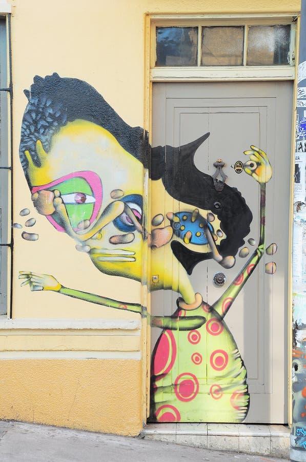 瓦尔帕莱索街道艺术  库存照片