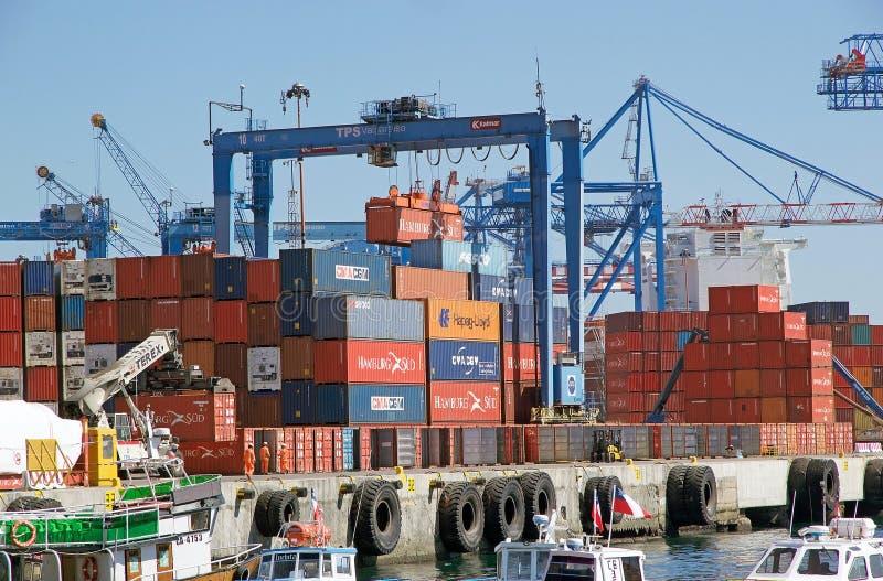 瓦尔帕莱索,智利港  免版税库存照片