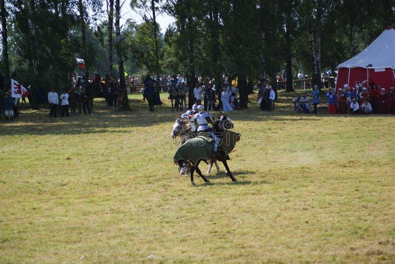 瓦尔德,波兰- 2009-07-18 :登上的骑士 库存照片