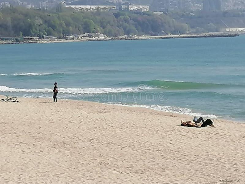 瓦尔纳保加利亚海滩30号 04 2020 免版税图库摄影