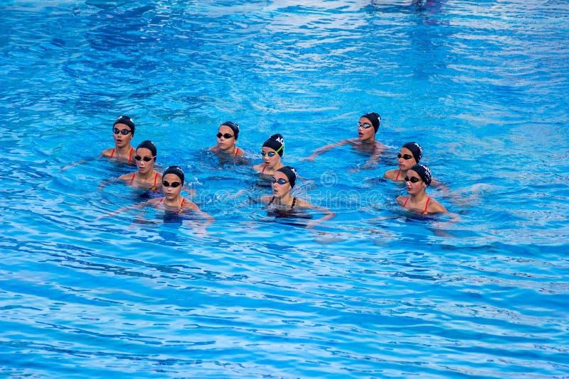 瓦尔纳保加利亚5月13日2017儿童` s花样游泳队 免版税库存图片