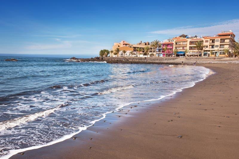 瓦尔Gran Rey海滩风景看法在戈梅拉岛,加那利群岛,西班牙 免版税库存照片