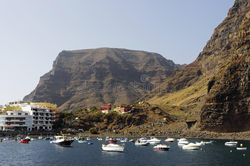 瓦尔Gran Rey,戈梅拉岛小游艇船坞  免版税库存图片