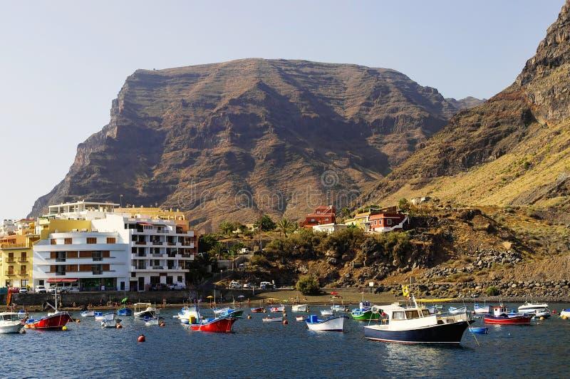 瓦尔Gran Rey,戈梅拉岛小游艇船坞  库存照片