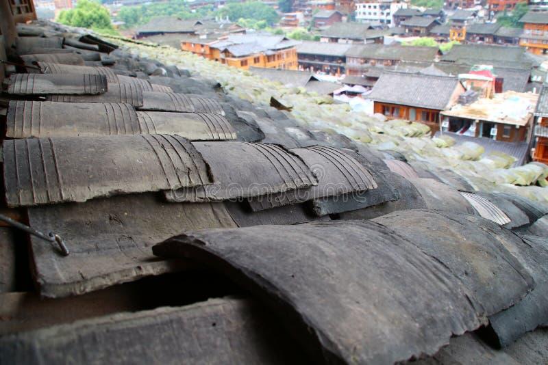 瓦屋顶古镇在中国 图库摄影