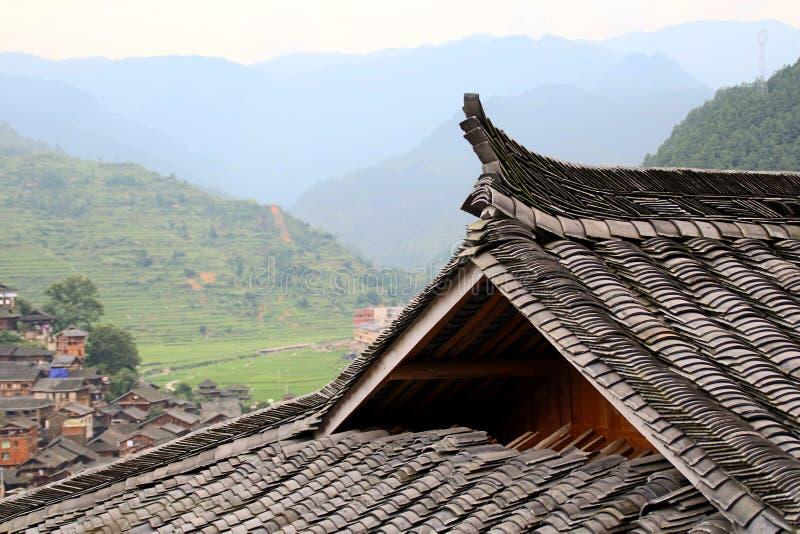 瓦屋顶古镇在中国 库存照片