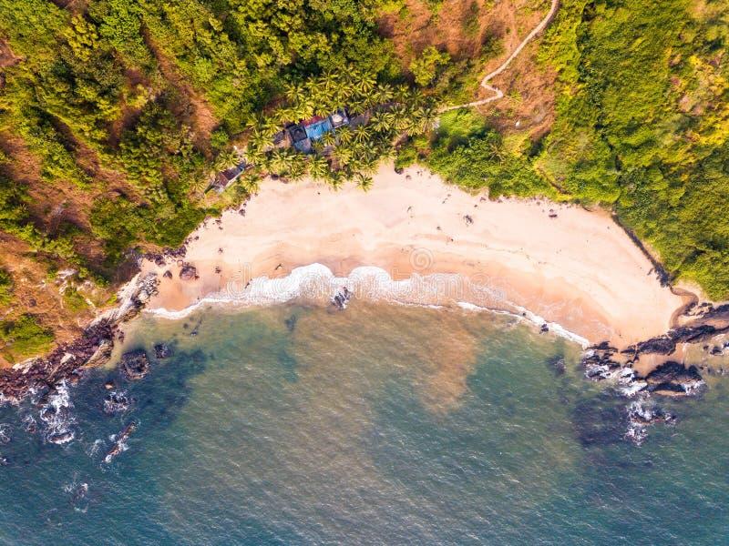 瓦斯科・达伽马海岸线的鸟瞰图在果阿印度 免版税库存照片