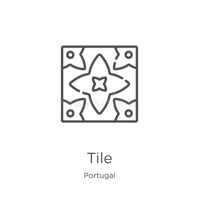 瓦片从葡萄牙汇集的象传染媒介 稀薄的线瓦片概述象传染媒介例证 概述,稀薄的线瓦片象为 向量例证