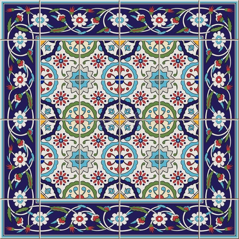 从瓦片和边界的华美的无缝的样式 摩洛哥,葡萄牙语,土耳其语, Azulejo装饰品 皇族释放例证