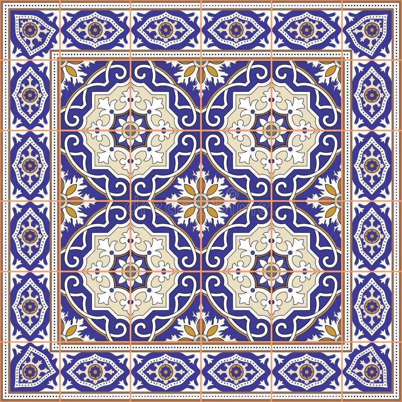 从瓦片和边界的华美的无缝的样式 摩洛哥,葡萄牙语, Azulejo装饰品 向量例证