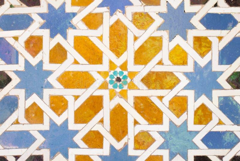 瓦片装饰在阿尔罕布拉宫 库存图片