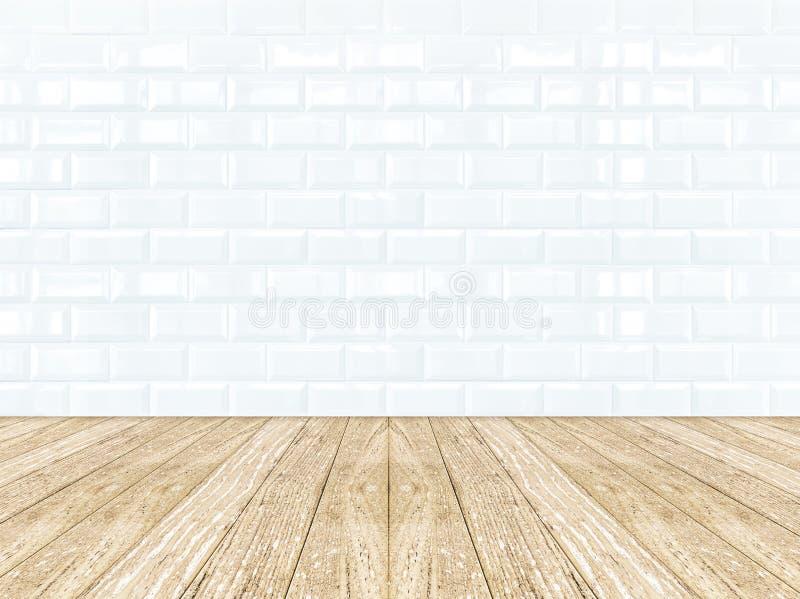 瓦片陶瓷墙壁和木地板 免版税库存图片