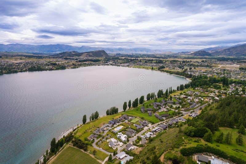 瓦纳卡湖,新西兰全景风景 图库摄影