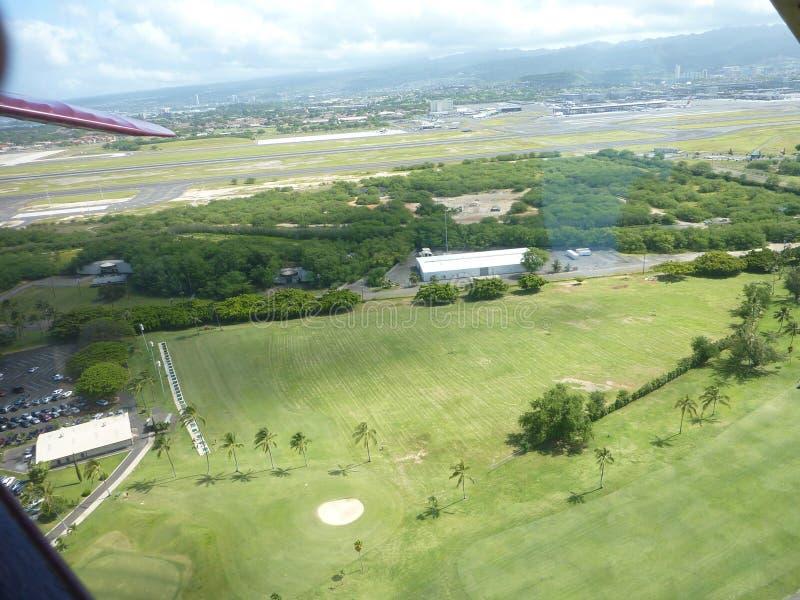 瓦胡岛夏威夷鸟瞰图  免版税库存图片