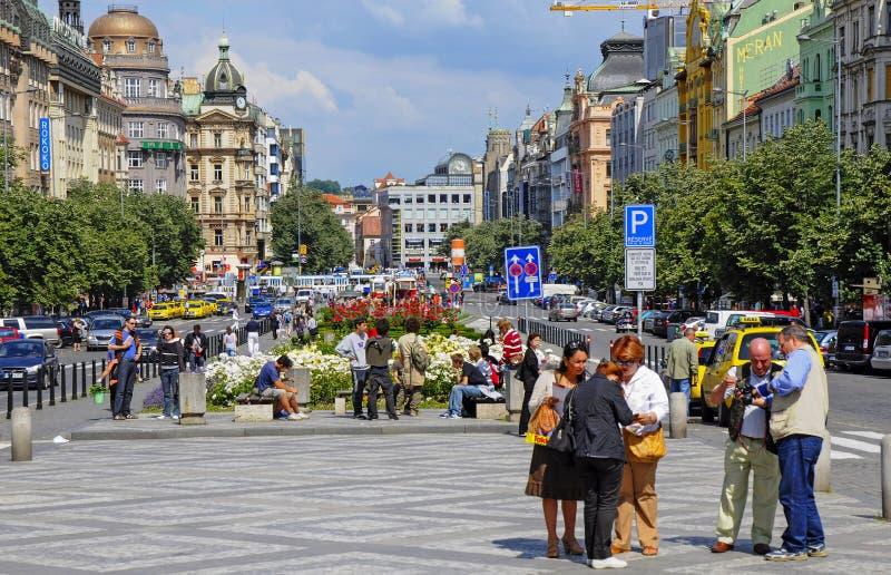 瓦茨拉夫广场在布拉格 免版税库存照片