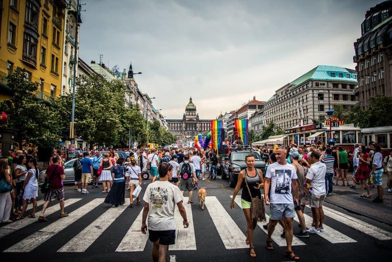 瓦茨拉夫广场-布拉格自豪感2015年 免版税库存图片