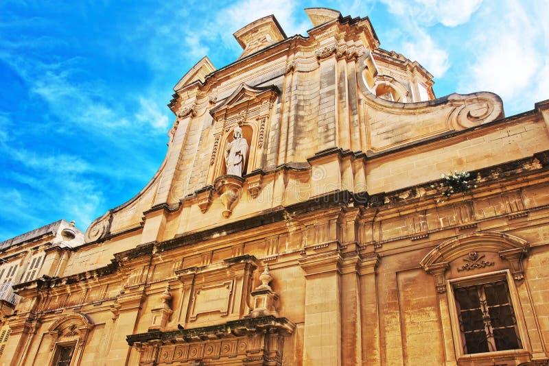 瓦莱塔圣尼古拉斯教会门面  免版税库存图片