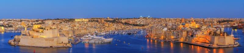 瓦莱塔日落在马耳他 免版税图库摄影