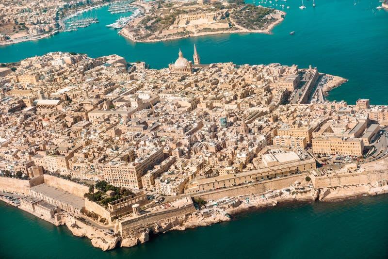 瓦莱塔,从看法飞机港口, c的马耳他首都 免版税图库摄影