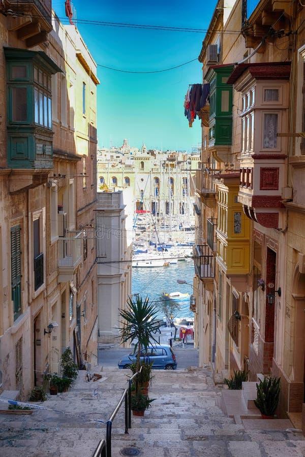 瓦莱塔-马耳他的首都老街道  图库摄影