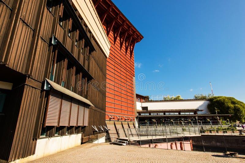 瓦萨沉船博物馆在斯德哥尔摩,显示恢复的脉管军舰 免版税图库摄影