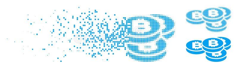 瓦解的小点半音Bitcoin铸造象 向量例证