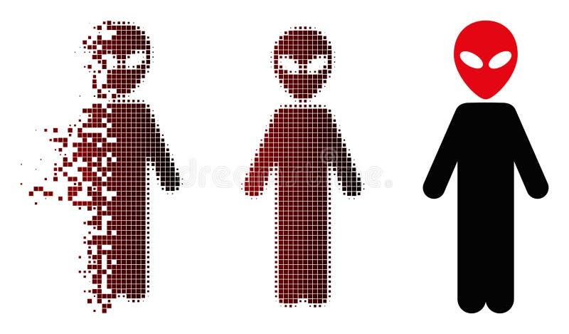 瓦解的映象点半音外籍人象 向量例证