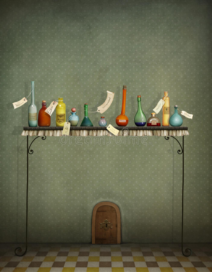 瓶、钥匙和小门 皇族释放例证