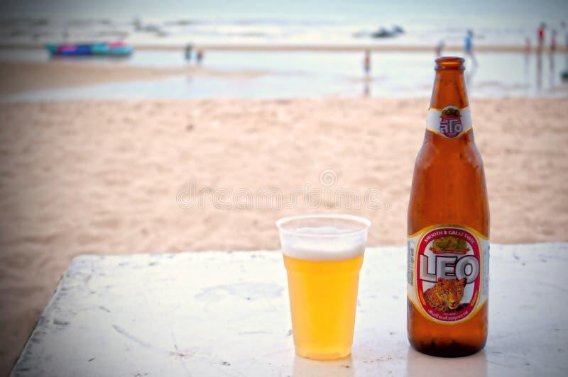 瓶与一块充分的塑料玻璃的泰国啤酒在与人的一个海滩在泰国 海滩和人民是迷离,有vignet 图库摄影