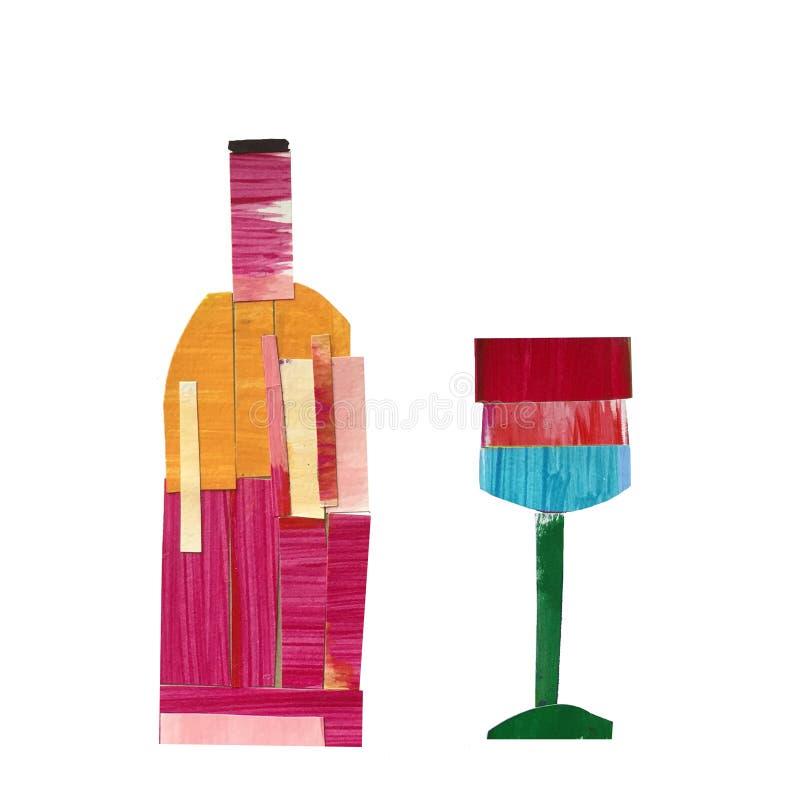 瓶与一块玻璃的酒在拼贴画技术  向量例证