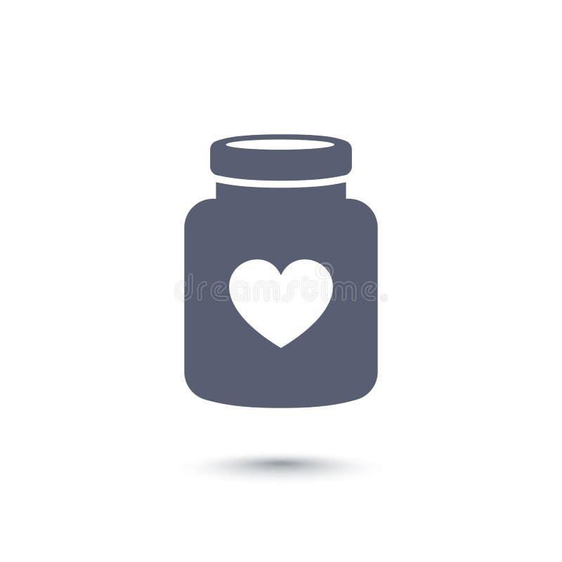 瓶与心脏象的药片,药物 向量例证