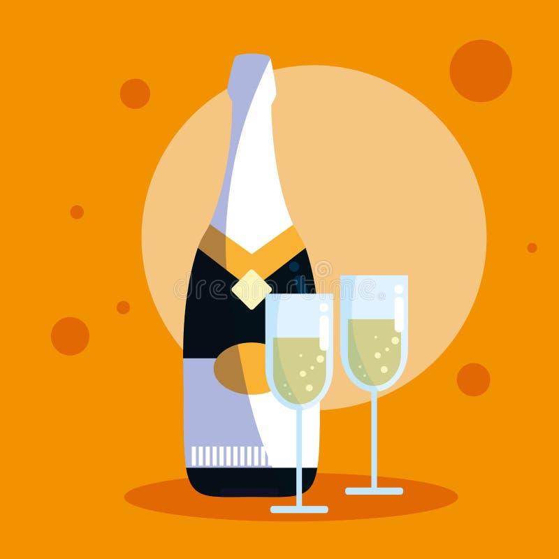 瓶与杯子的香槟 库存例证