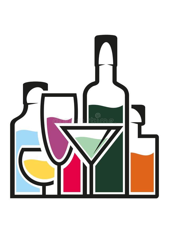 瓶与热带鸡尾酒的酒精 向量例证