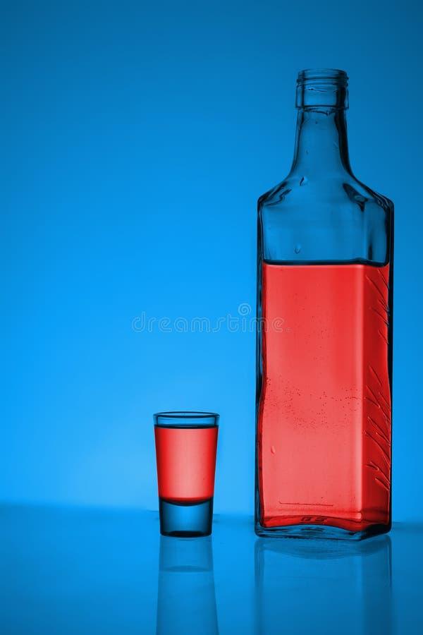 瓶与玻璃的伏特加酒 免版税库存照片