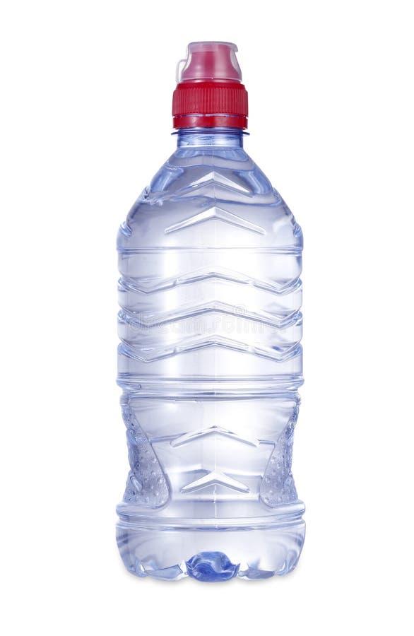 瓶与裁减路线的水 免版税库存照片
