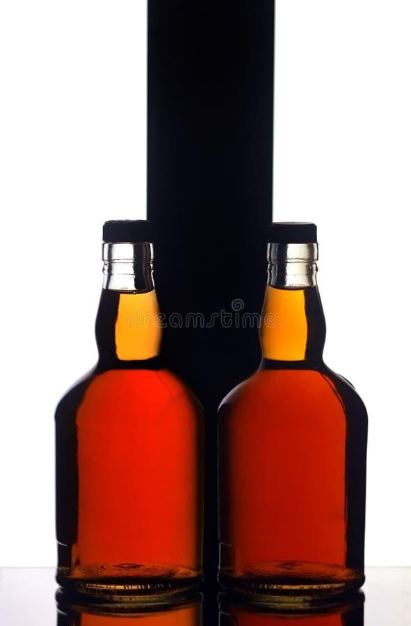瓶二威士忌酒 免版税库存图片