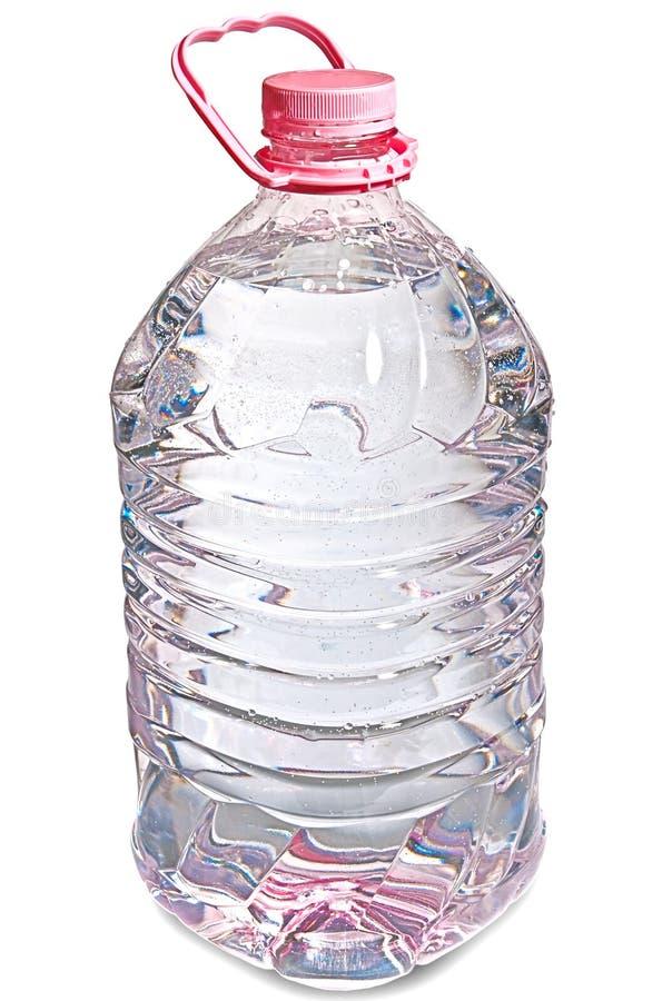 瓶五查出的公升粉红色水 库存图片