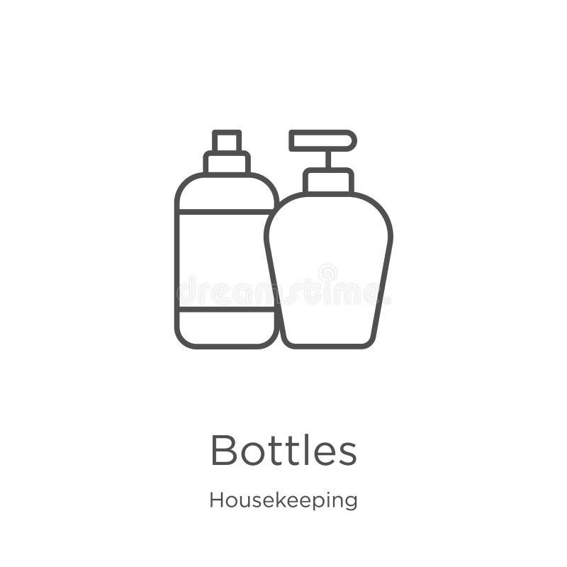 瓶从家务汇集的象传染媒介 稀薄的线瓶概述象传染媒介例证 概述,稀薄的线瓶 向量例证