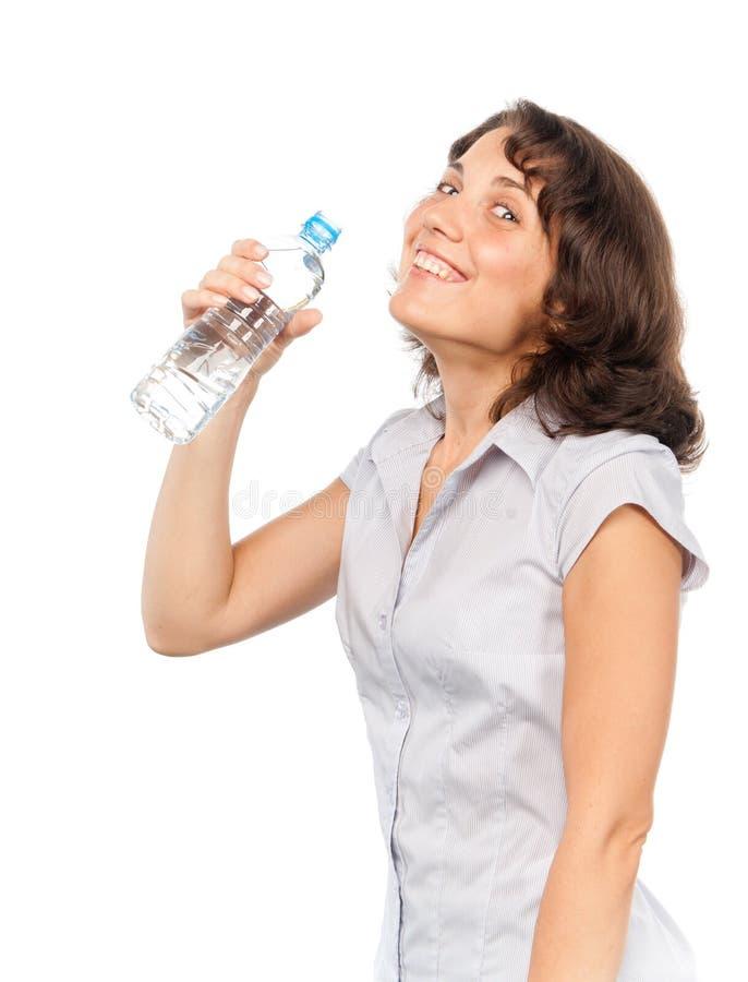 瓶冷女孩俏丽的水 库存图片