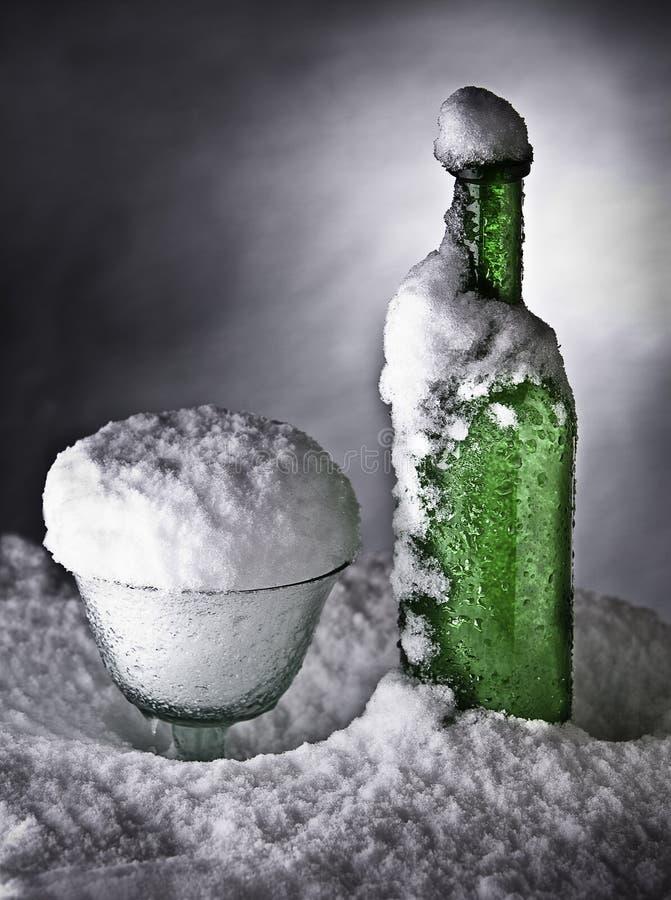 瓶冷饮料冻结的冰雪冬天 免版税图库摄影
