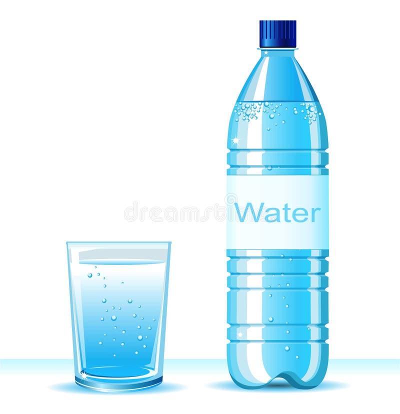 瓶净水和玻璃在白色backgroun 皇族释放例证