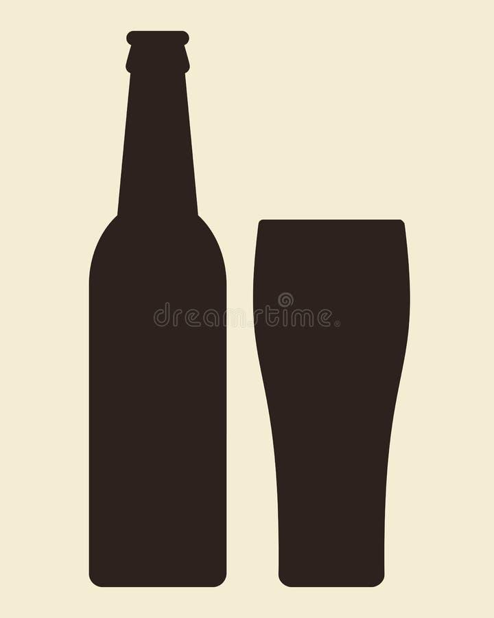 瓶和杯啤酒 向量例证