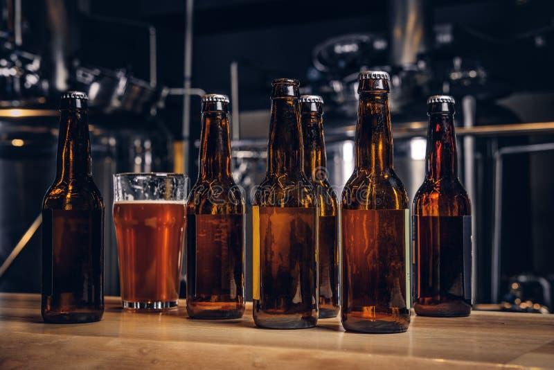 瓶和杯在木酒吧柜台的工艺啤酒在制片者啤酒厂 免版税图库摄影