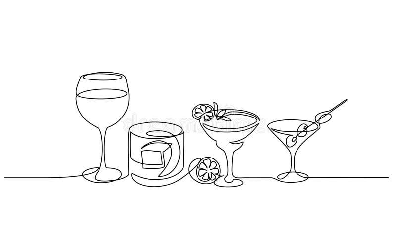 瓶和杯威士忌酒连续的一条线 库存例证