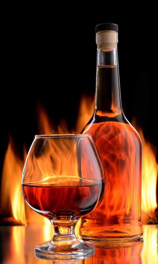 瓶和杯科涅克白兰地 库存照片