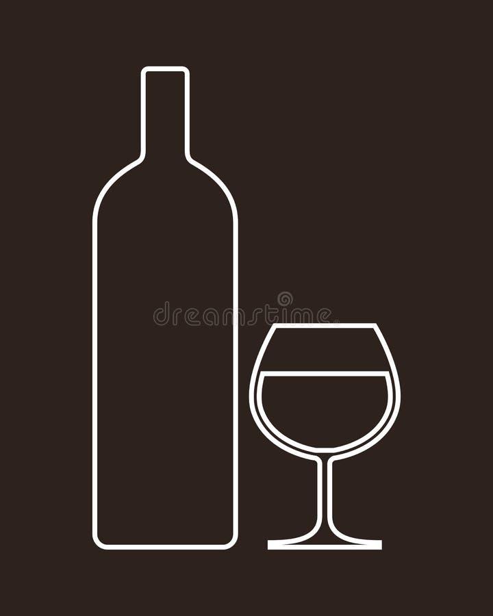瓶和杯酒精 皇族释放例证