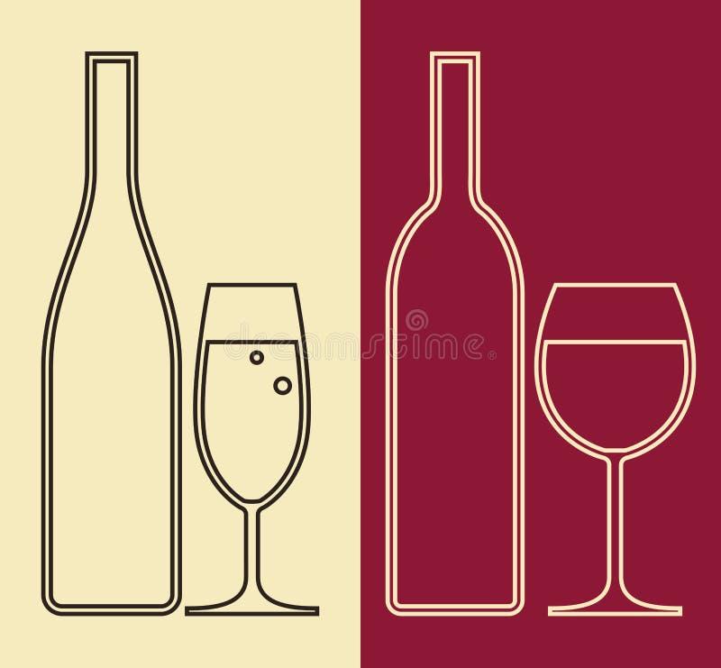 瓶和杯酒 库存例证