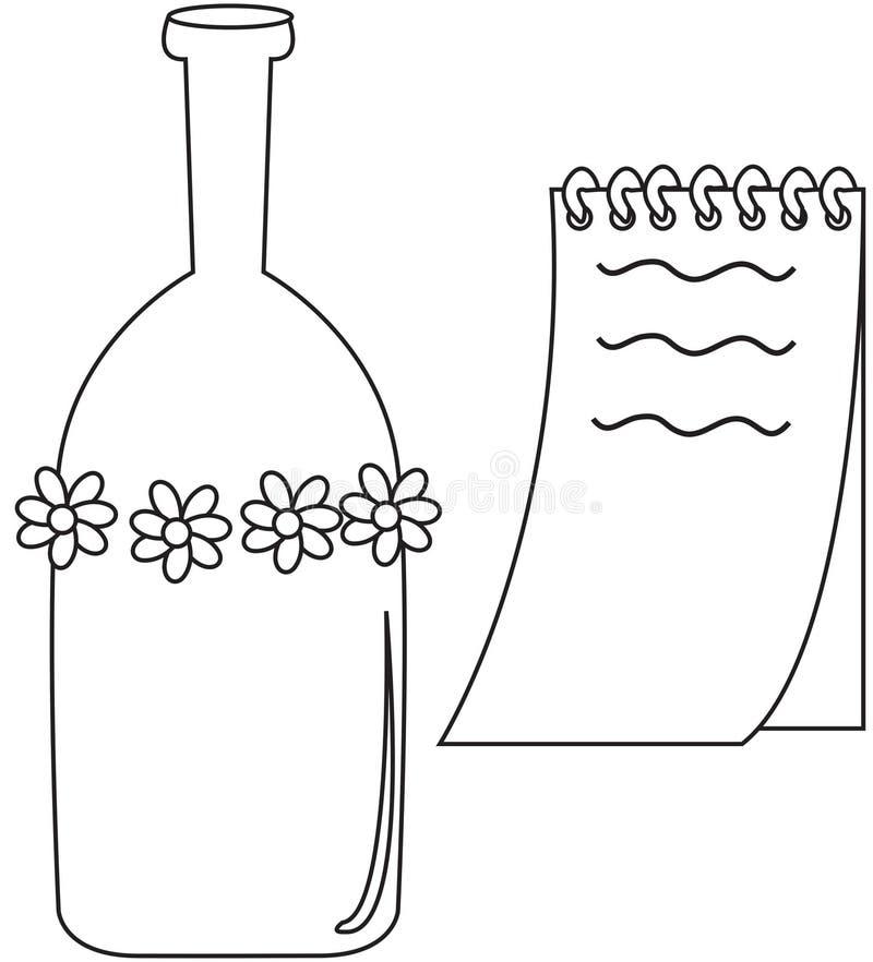 瓶和笔记本 向量例证